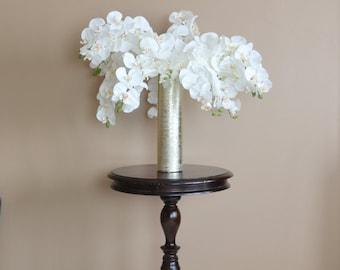 Silk Flower Arrangement With Vase, Floral Arrangement, White Orchid,  Centerpiece, White Orchid
