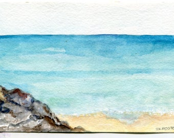 Aruba original watercolor painting, seascape watercolor Original 4 by 6 Aruba, original ocean art, watercolor seascapes art