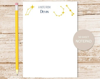 star constellation personalized notepad . astrology stars note pad . personalized stationery . stationary notepad