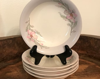 Vintage Crown Potteries Pink & Gray Floral Patterned Berry or Dessert Bowls Set of 5