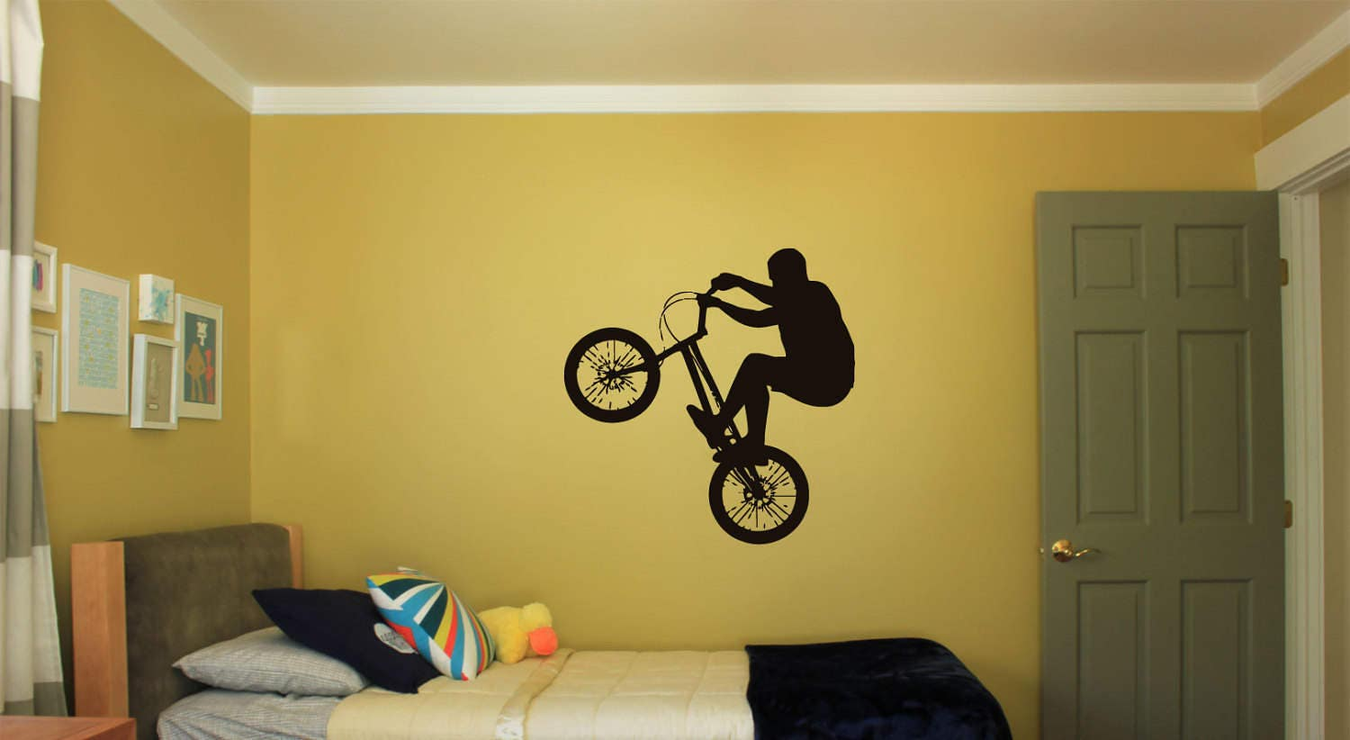 Wall Decal Sticker Bedroom bmx bicycle bike jump Kids Girls