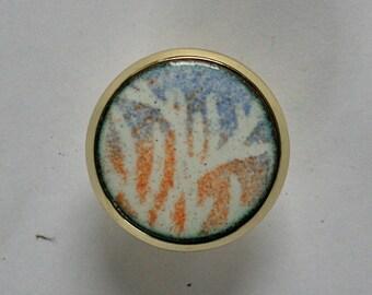 Copper Enamel Knobs / Winter Forest Sunset drawer pull Pair / Cabinet hardware