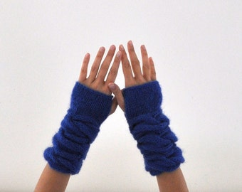 Fingerless Gloves Wrist Warmers Blue Mohair Soft Warm Cozy Winter Accessories Winter Fashion Christmas Gift for Her under 50