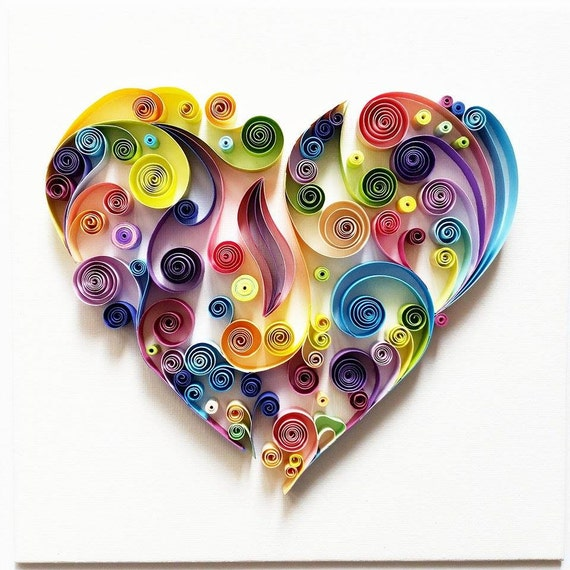 Quilled paper art colourful heart for Quilling strips designs