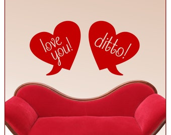 Word Bubble Heart Wall Decals, Love You Sticker, Ditto Sticker  S-134