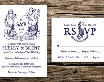 Mythical Mariner Wedding Invitation Set // Mermaid Wedding Invites Rustic Crest Navy Blue Rustic Nautical Wedding Invitations Seaside Ocean
