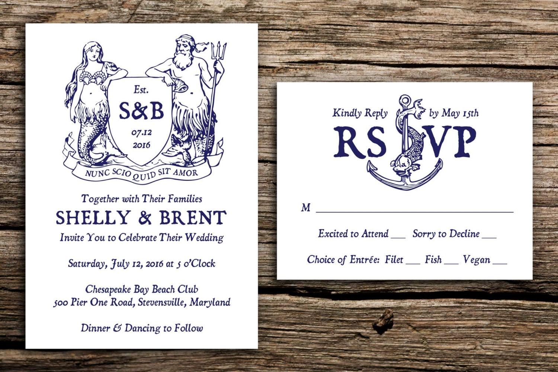 Mythical Mariner Wedding Invitation Set // Mermaid Wedding