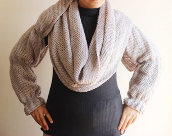 Scarf with Sleeves-Taupe Big Scarf Cowl with Long Sleeves /Cardigan/ Poncho-Knitted Scarf with Sleeves-READY FOR SHIPPING!