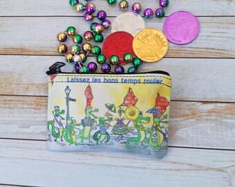Mardi Gras Coin Purse Small Pouch 3x5 inch wallet New Orleans Bourbon Street Parade Brass Band Alligator Cajun Purple Green Gold