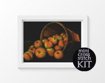 Basket of Apples Cross Stitch Pattern PDF by Levi Wells Prentice, Fruits Cross Stitch Chart, 5 x 7 inches