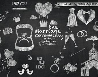 Wedding Cliparts Chalkboard, Valentine Cliparts, Love Clip Art, Wedding Icons, DIY Invitations, White Overlays C168