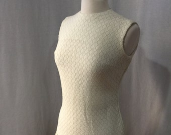 Vintage 1960s Cream MOD Twiggly Scooter Girl Sleeveless Drop Waist Dress with Pleated Skirt
