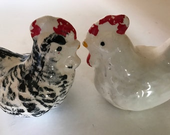Adorable Chicken and rooster Salt and Pepper Shakers-Orange and Gold Highlights