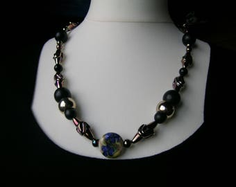 Iridescent Bronze: a stunning unique hand made lampwork + vintage bead upcycled necklace