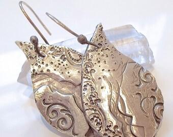 Handmade Sterling Silver Lotus Petal Modern Tribal Print Earrings