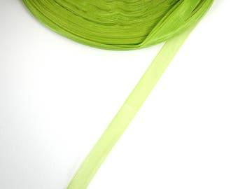 5 meters of 10 mm Green organza Ribbon