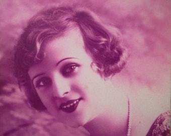 romantic postcard of a beautiful woman, vintage postcard