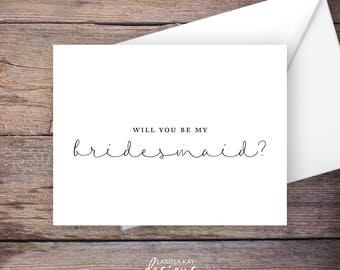 Printable Will You Be My Bridesmaid Card, black, Instant Download Greeting Card, Be My Bridesmaid, Wedding Card – Brynley