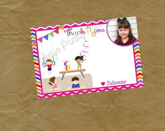 GYMNASTICS Birthday Party THANK YOU Note - blank or with message Picture Photo