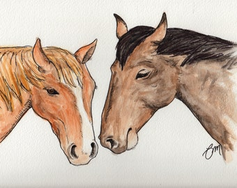 Original Two Horses Watercolor Painting Portrait: Gift for a Horse Lover