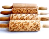 SET OF 4 kids rolling pins - embossing pins for kids,small laser engraved rolling pins. Cat,fox, dinosaur + plain. Valek KIDS! Kids' toys!