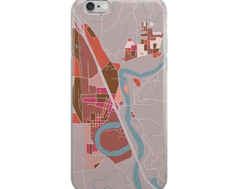 Woodland map iPhone Case modern sketchy map art