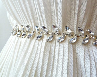 Bridal Leaf Sash BRIDAL SASH ,Jeweled Sash, Wedding Sash,Grecian leaves sash,Greece Leaf sash ,vine Leaf sash,rhinestone sash