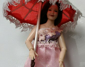 miniature parasol umbrella 1:12  Spring summer by Mable Malley