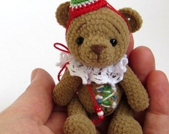 Miniature / Thread Artist / Crochet teddy bear / Crochet bear / Knit bear toy / bear with embroidery / Handmade gift