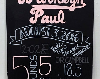 Baby Statistics Chalkboard
