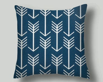 Blue  Pillow Cover, 18 inch covers,  Arrow Print. Pillow Covers Throw Pillows Pillows Accent Pillows Pillows  Fabric front & back