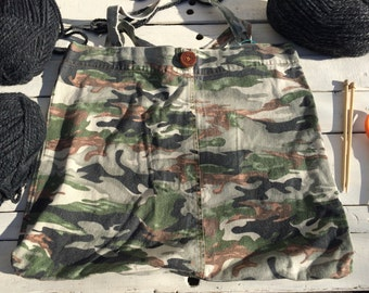 Large Upcycled Denim Project Bag or Tote for art, yarn, crafts and more - Camo, Camouflage