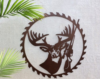 DEER with RIFLE in saw blade Metal Wall Hanging; MANCAVE / Father's Day