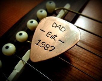 Hand Stamped Fathers Day Gift - For Dad - Hand Stamped Copper Guitar Pick