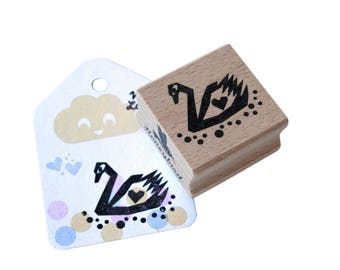 Swan rubber stamp - swimming swan rubber stamp, swan ink stamp, swan and heart stamp, love stamp, wedding stamp swan