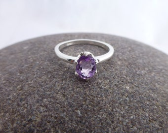 Faceted Amethyst and Sterling Silver Ring