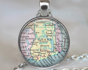 Ghana  map pendant, Ghana map necklace, map jewelry, Ghana pendant, adoption pendant Ghana necklace key chain key ring key fob