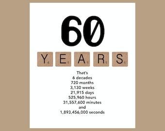 60th Birthday Card, Milestone Birthday Card, The Big 60, 1958 Birthday Card