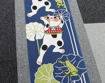 japanese cat fabric cotton Tenugui Maneki-neko Fortune Cats in a pond, japanese fabric, kawaii fabric,Tenugui, cat fabric, cotton