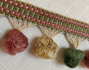 Vintage 3 yard piece Decorative interior pom-pom trim in Green, salmon, buttercup. #51