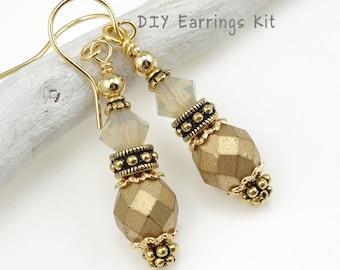 DIY Earring Kit - Gold Earrings Jewelry Kit - Do It Yourself Autumn Earrings Dressy Fall Earrings Make It At Home Beaded Craft Kit