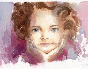 "11"" x 6.5"" Original watercolor painting. Portrait of Little Girl"
