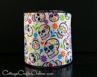"""Day of the Dead Wired Ribbon, 4"""", Patterned Skulls, Multi-color Flowers, TEN YARD ROLL, """"Skull 100"""" Dia de los Muertos Wire Edged Ribbon"""