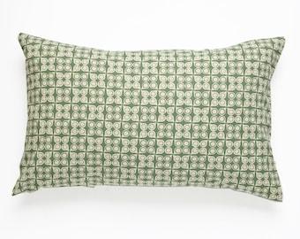 Damla Handscreen Printed Cushion Cover - Bottle Green  30x50cm
