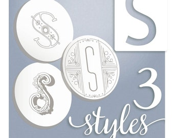 Embroidery Monogram Modern Monograms Letter S hand embroidery patterns in three styles Alphabet Letter designs by SeptemberHouse