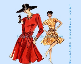 Vogue 7271 Womens Fitted & Flared Dress size 14 16 18 Bust 36 38 40 Very Easy Vintage 1980's Plus Size Rockabilly Sewing Pattern Uncut FF