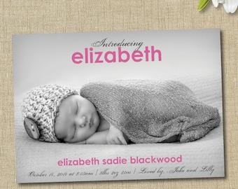 baby girl birth announcement. custom photo card. introducing