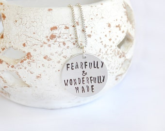fearfully and wonderfully made necklace - christmas ideas for girlfriend - friendship gift for women - psalm 139 - inspirational gift women