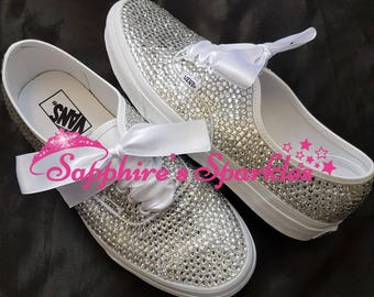 Fully Crystalised Vans Customised Vans Bride Vans Bling Vans White Vans Wedding Vans Wedding Shoes Bride Shoes Prom Shoes Prom Vans pumps