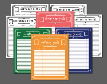 Letter and Gift Tracking Printables (Full-Color and Low-Ink Option Bundle)